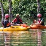 Instructor, David, teaching on Bujagali lake.