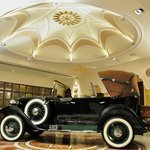 The vintage car at the entrance