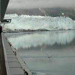 First view of the Margerie Glacier as our cruise ship turns us to face it