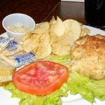 Crab cake with chips