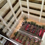View from glass elevator looking down at restaurant