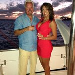 Sunset Champagne Toast on our boat in Gustavia Bay