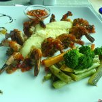 Grilled Prawns with mashed potatoes and vegies