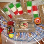 At restaurant's checkout counter: Sweet treats ~ Mexican Flag coconut candies & lollipops