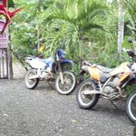 DRZ-400s safely parked at Cabinas Tropicales
