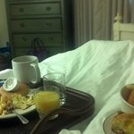 Wicker tray in room allows you to bring Joanne's great breakfast back to your bed.