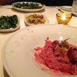 Beet Risotto with side dishes.  Don't be fooled by the pink, this dish was soo