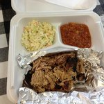 pulled pork plate , stew and slaw hold the texas toast