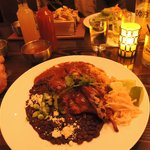 Rabbit mole with black beans, jicama slaw & rice