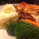 trumpets classic homemade pie £10.50 with a beer what value