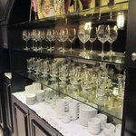 """Tea Bar"" stocked with wine glasses"