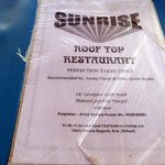Sunrise menu