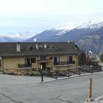 Hotel with the Italian alps in the background...