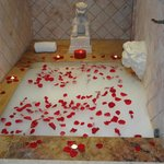 Our bathtub the night of the romantic turn down service