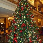 Christmas tree next to Lobby lounge