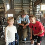 Evan and Adam Hansen with Hal, the ring blacksmith