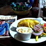 Bar food- jacket potatoe with cheddar cheese, coleslaw and a