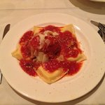 My amazing ravioli with their famous meat ball waiting to be devoured.