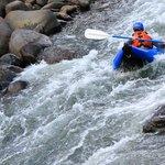 Single inflatable kayak, low water