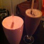 strawberry and choco milkshake