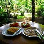 庭をみながらの朝食!