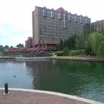 View of the hotel from across the lake.