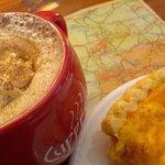 Peanut butter mocha coffee and quiche