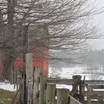 Outbuilding and fence at Salem Cross