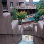 View from the porch of the Sagebrush View onto hotel grounds