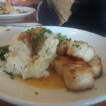 scallops and smashed potatoes