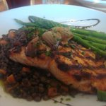 grilled salmon, lentils and asparagus