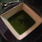 pea and basil soup, tasty started served at the Riad.