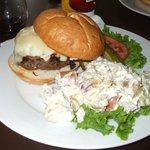 Bangin burger and garlicky potato salad