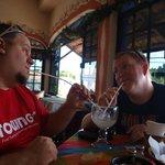 Enjoying a drink with a friend