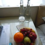 welcome water and fruit