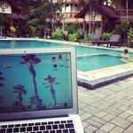 work near the pool