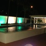 Garden pool at night; breakfast served in this area in AM; just outside Villa