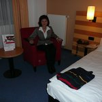 Hotel room and double bed