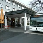 Shuttle Bus stops at the hotel main entrance