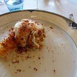 haddock/pomme de terre mousseuse/fromage frais chèvre/cacahuètes