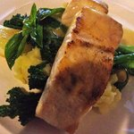 Barramundi with masked potatoes and broccoli