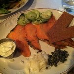 salt cured salmon w dill cucumbers