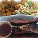 1/2 rib platter w misery slaw and fried okra