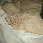 Torn bed linen