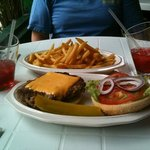 great burger, fries and rum drinks