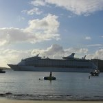 Cruise ships leaving - view from building 1