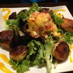 Blackened Scallops on Bed of Greens with Mango Salsa. A Standout.