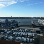 View of the USS Intrepid and cruise terminal from 12th floor Hudson Suite