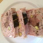 Delicious lunch including rabbit, pork and chicken terrine