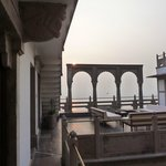 A view from our door out toward the terrace and the Ganga